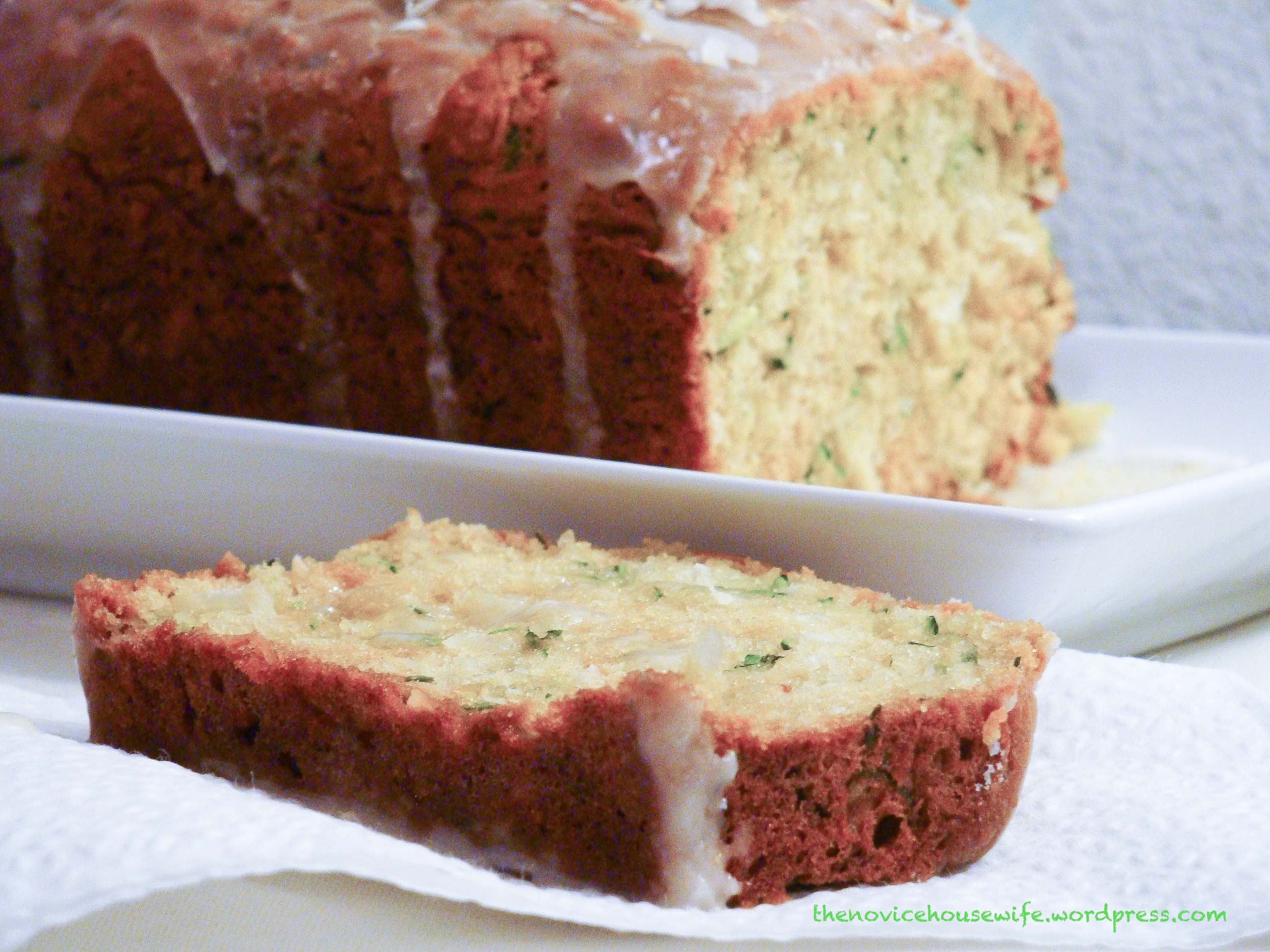 Zucchini & Coconut Bread with Coconut Rum Lime glaze - The Novice ...